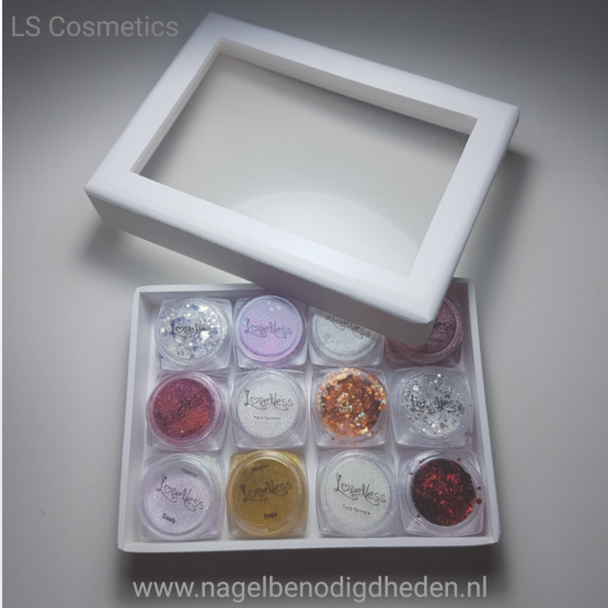 Mini Box Rechthoek voor 12 Glitters klein site