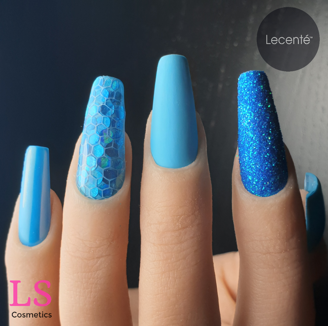 Lecenté Breakfast Club, Layer It!, Pastel Nail Shadow Blue, Ocrean Iridescent, Chunky Glitter