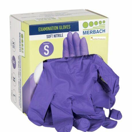 Merbach handschoenen soft-nitril poedervrij, 100 stuks paars